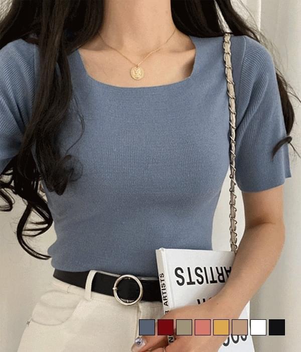 Bubble Square Neck Short Sleeve Knitwear