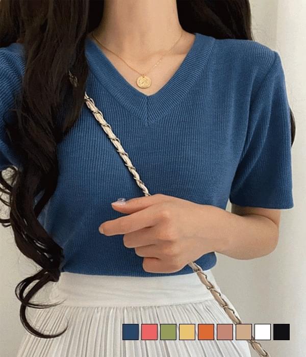 Red Bean V-Neck Short Sleeve Knitwear