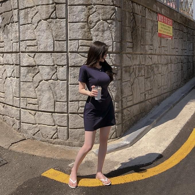 Over 1,000 copies Dream Girl Round Waist Strap Ribbon Short Sleeve Mini Dress