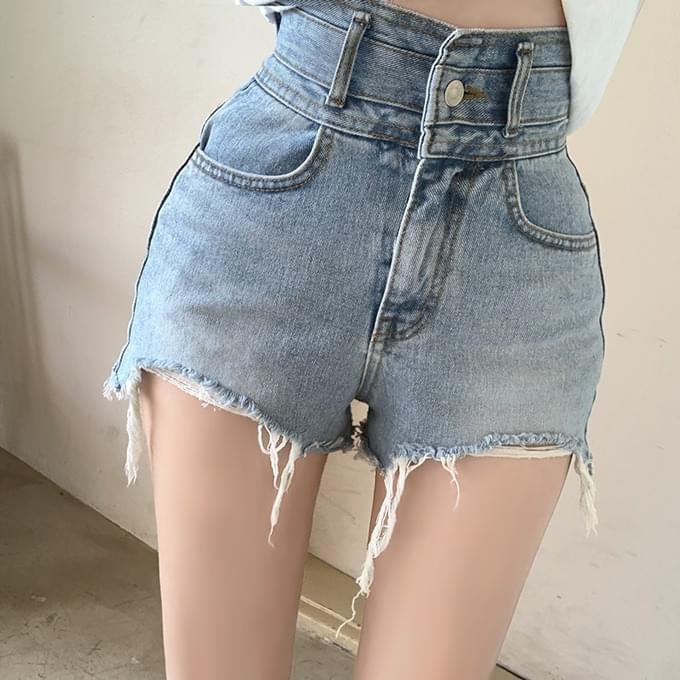 1000 Breaking Olledi High Hem Cut Damage Denim Short Pants Shorts