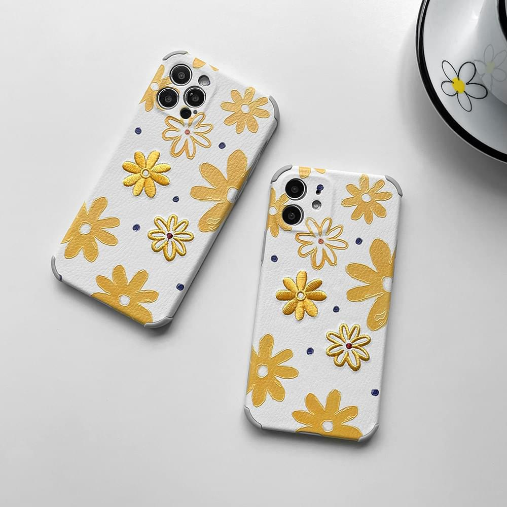 Embroidered Yellow Daisy Full Cover iPhone Case