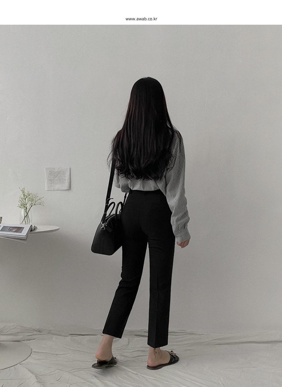(pretty jean) 中腰側鬆緊鉤釦西裝褲