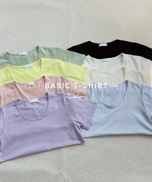 Modal U-neck short sleeve T-shirt-8color