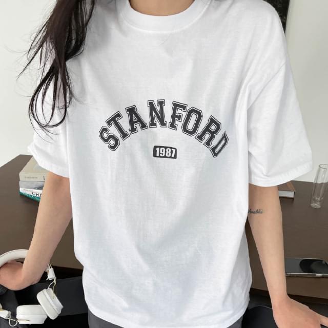 Stanford Lettering Cotton Tea 短袖上衣
