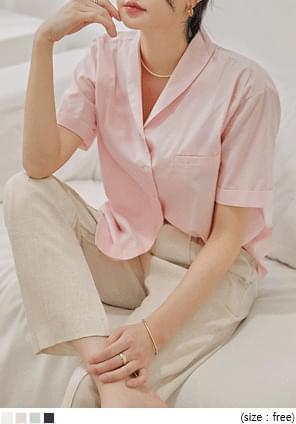 Shawl Collar Cuffed Sleeve Shirt