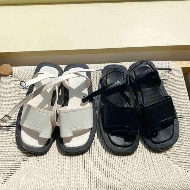 Soft square strap sandals 2.5cm