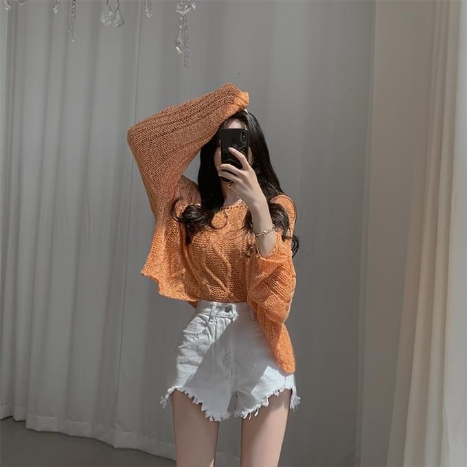 Over 1,000 sheets Tangerine Orange Off Shoulder See-Through Crop Knitwear