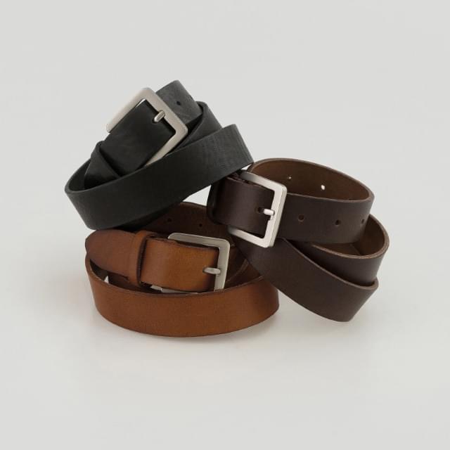 Basic Square Buckle Cowhide Belt