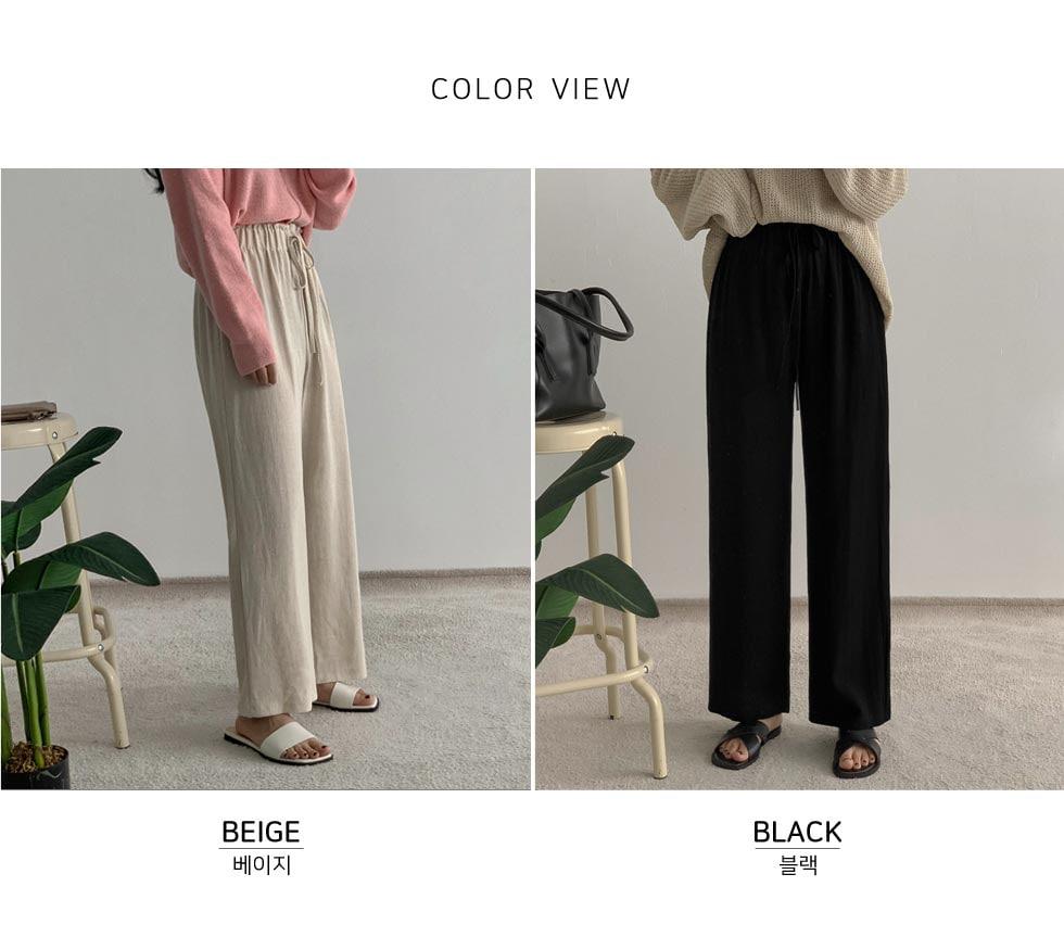 Luge linen banding wide pants