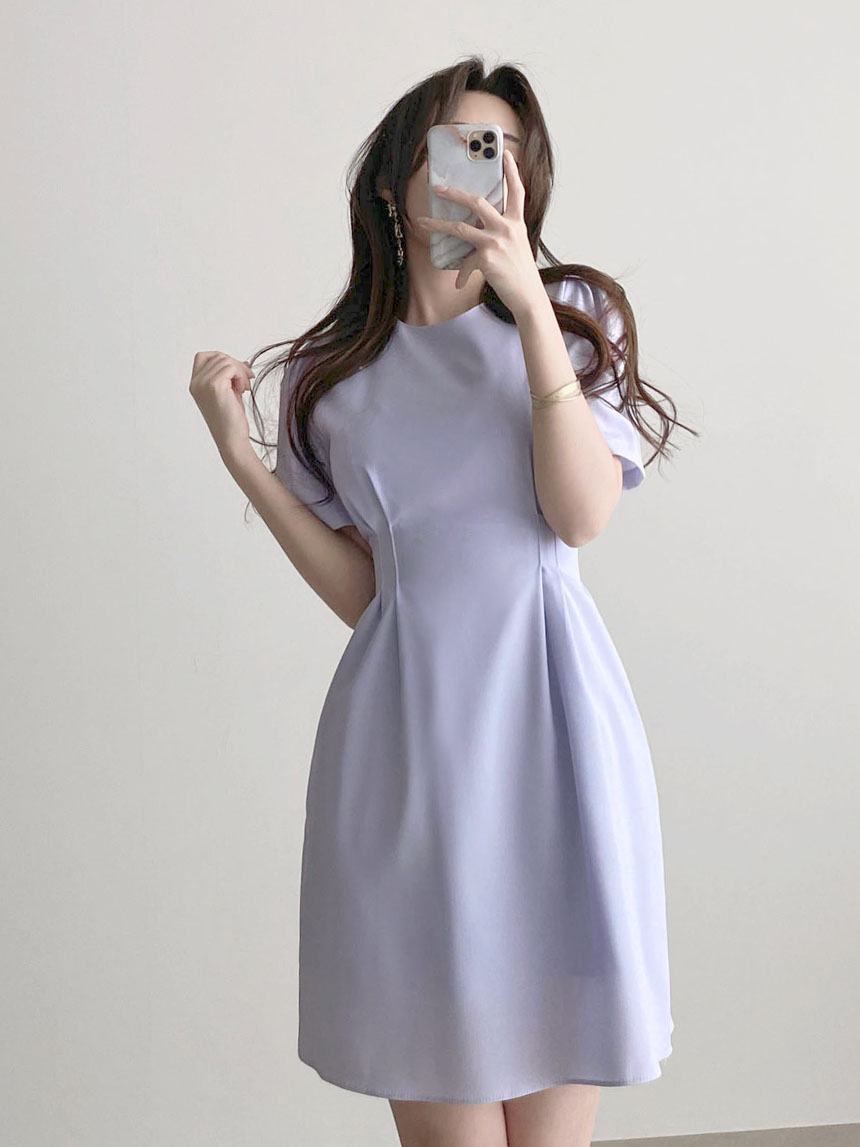 Thin guest look round neck pintuck ribbon mini short sleeve Dress 2color