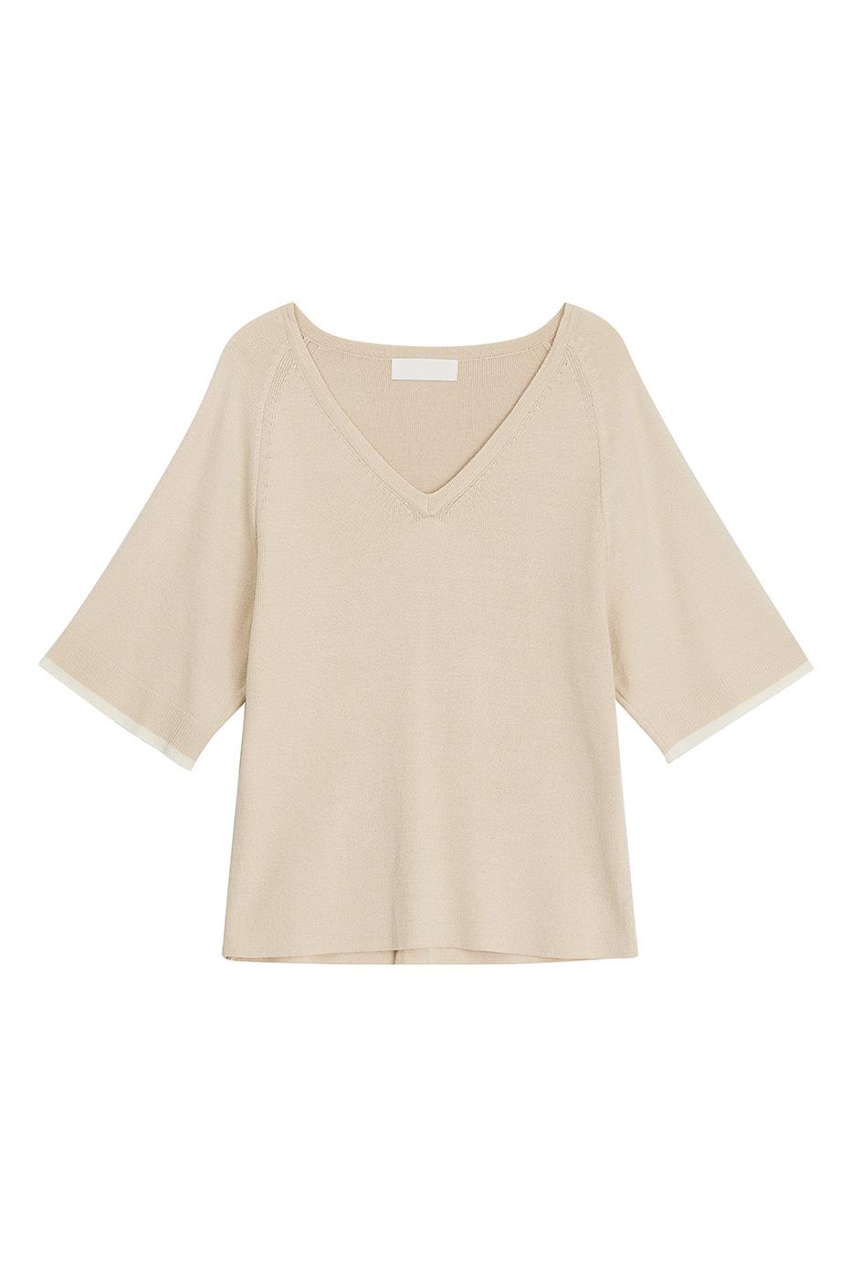Plain V-Neck Knitwear Top