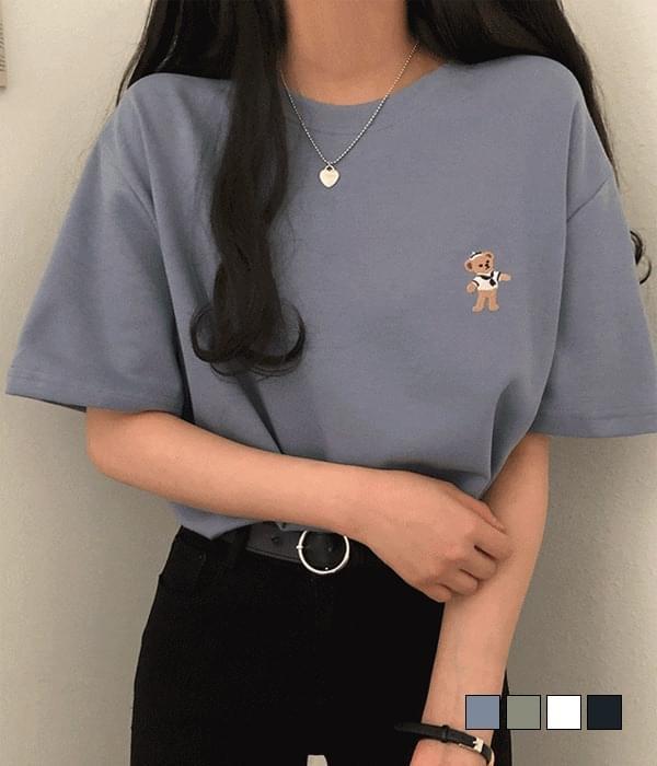 셀피 마린 테디 오버핏 반팔 티셔츠