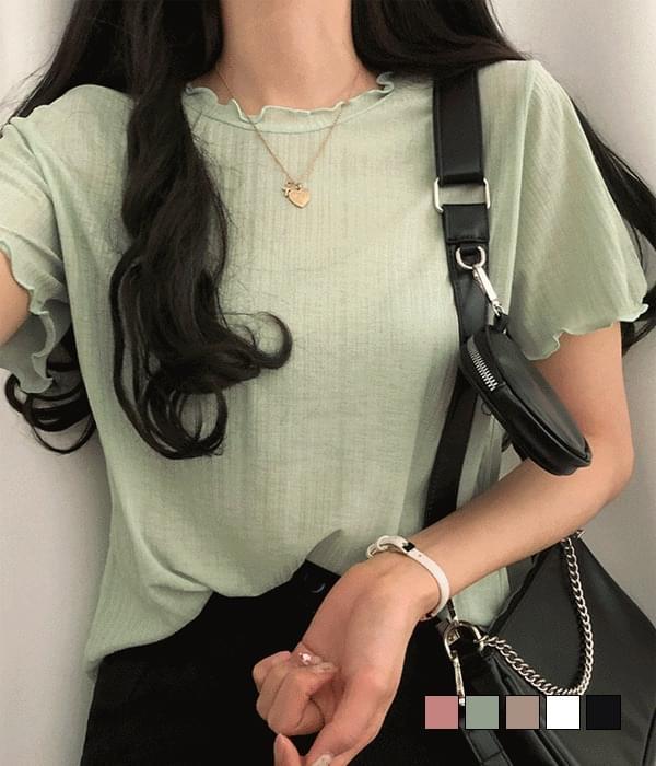 Netty lightweight rolling short-sleeved Ribbed T-shirt