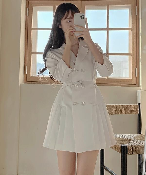 Carde Belt Double Jacket Dress 2color