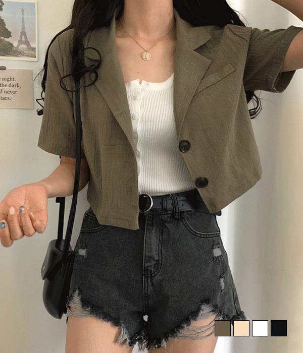 Blanc cropped linen short-sleeved jacket
