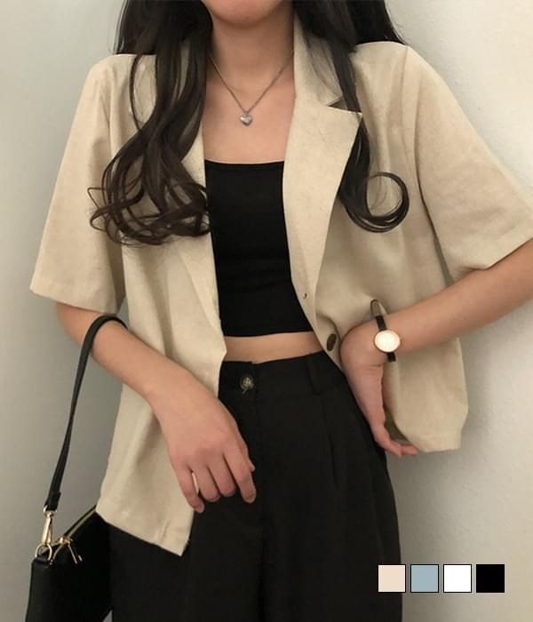 Fondue linen short sleeve jacket