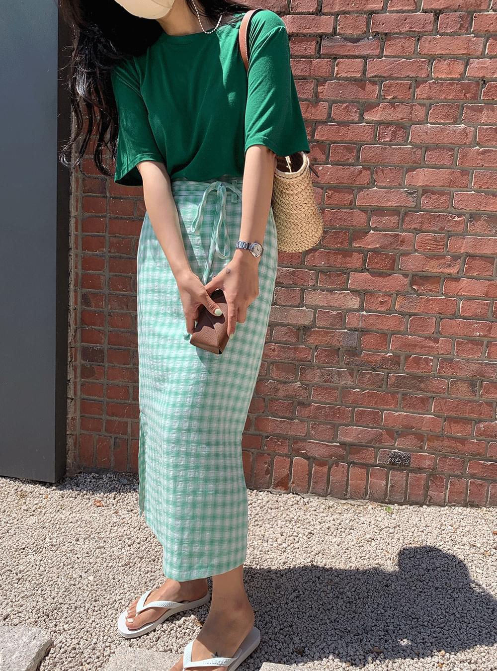 Check strap belt skirt