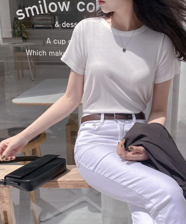 韓國空運 - Layered modal Ribbed T-shirt 短袖上衣