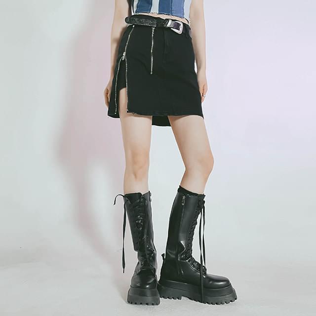 Zipper Coming Pants & Mini Skirt