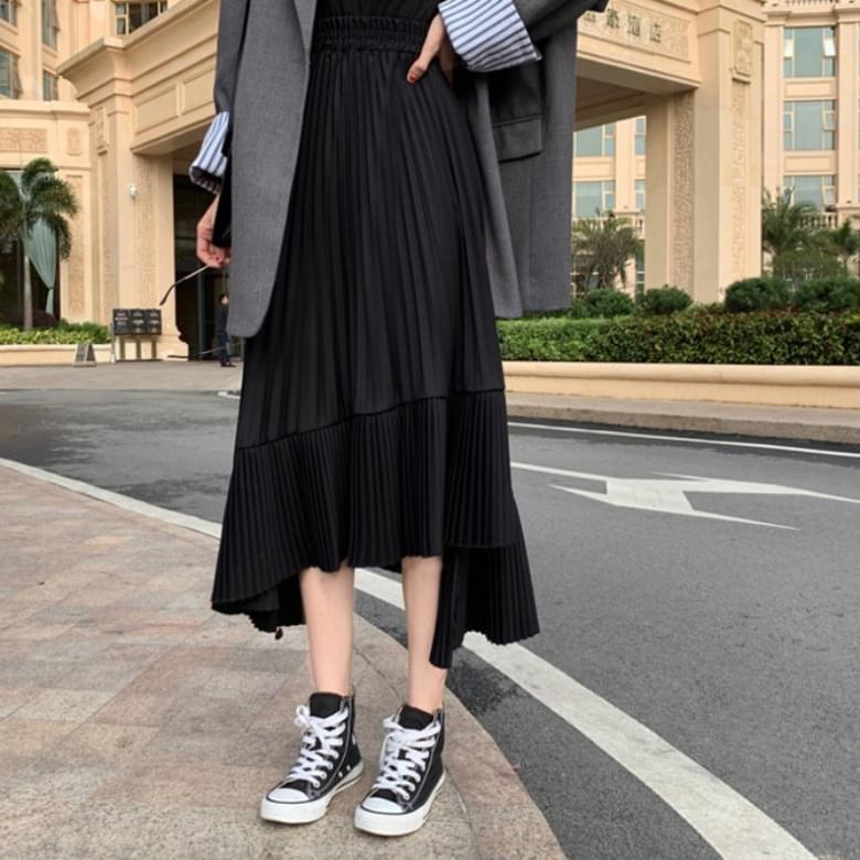 Hertz pleated A-line chiffon long skirt