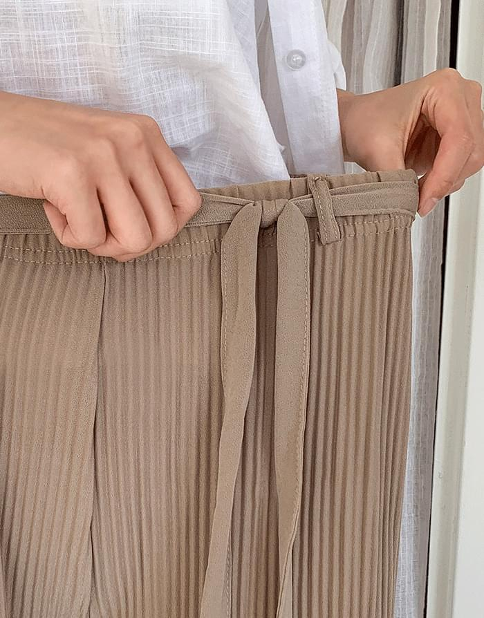 韓國空運 - Pleated ribbon pants 長褲