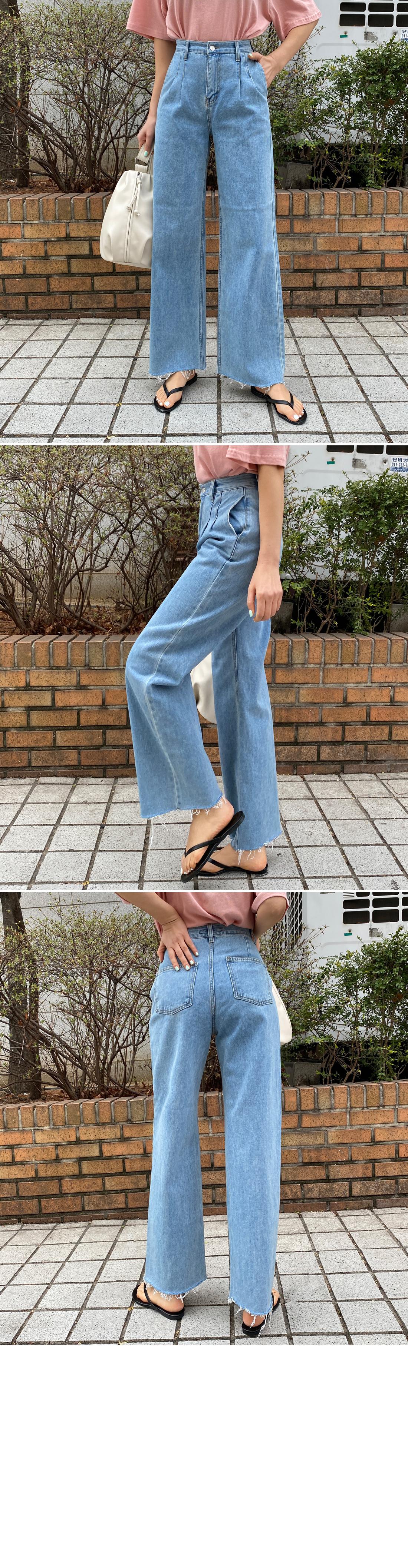 Waist Pin Light Blue Blue Wide Jeans