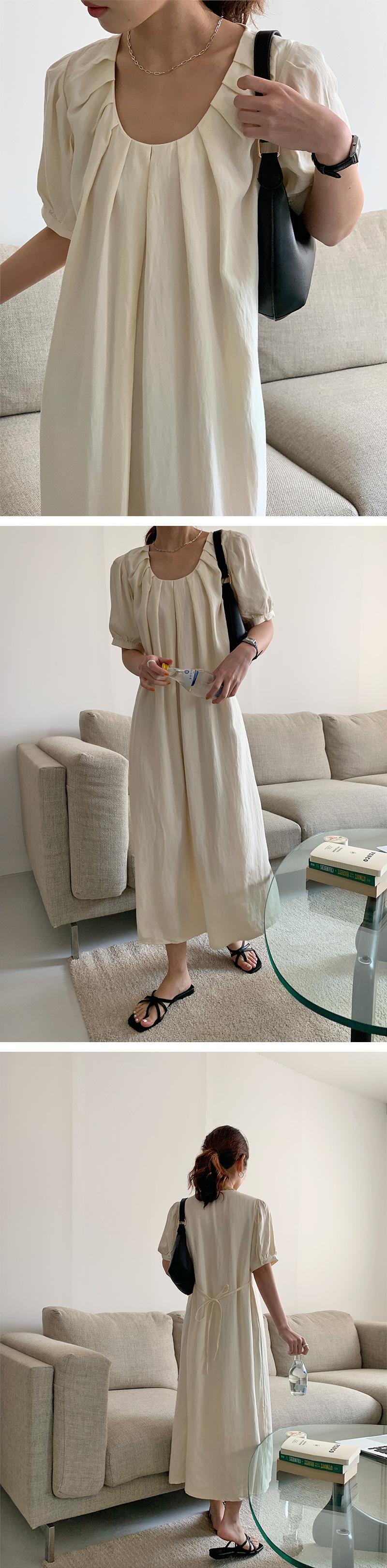 Adele Pintuck Shirring Long Dress
