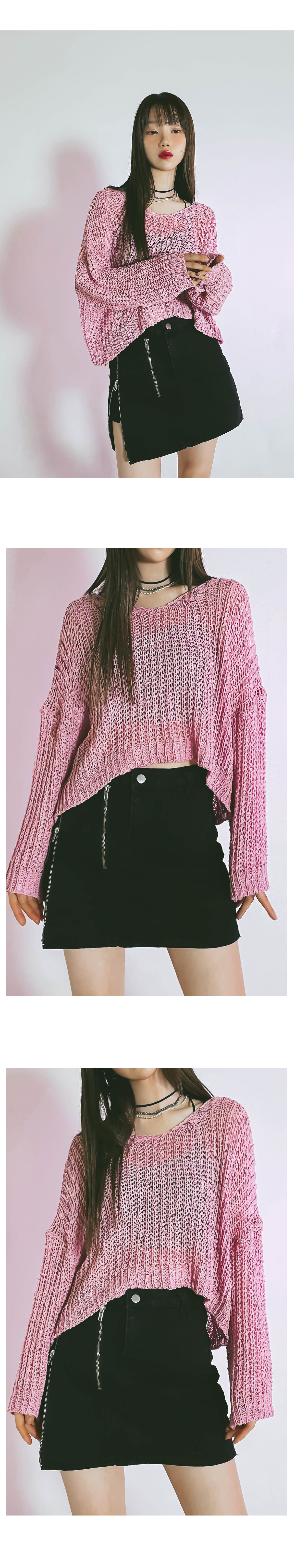 Crop Berry Net Knitwear