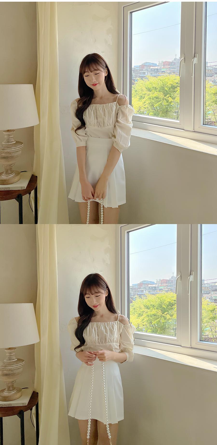Kirin pleated mini skirt 3color