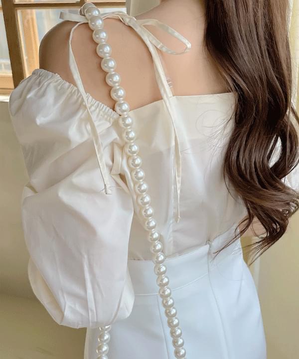 May balloon shoulder strap blouse 2color