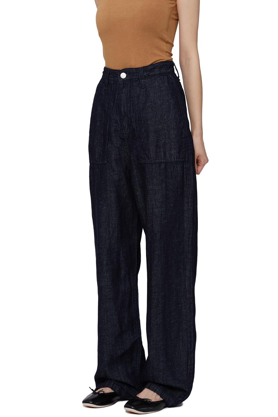 Fold Raw Pocket Wide Jeans