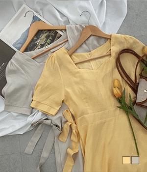 Earl Gray Heart Neck Linen Long Dress