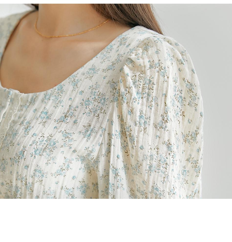 Lace Trim Floral Cropped Blouse