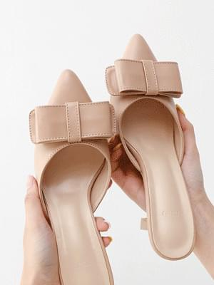 Isshu pointed nose flat ribbon high heel mules 5345