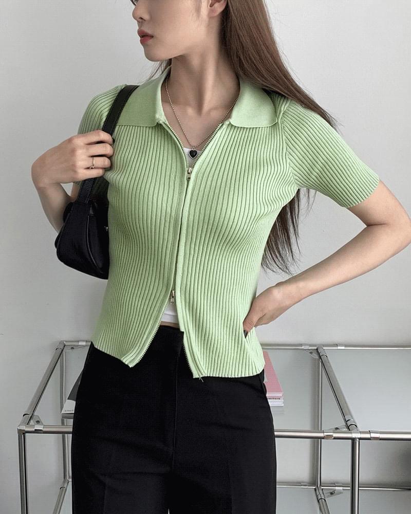 Retro Crop Two-Way Zip-Up Collar Knitwear Cardigan