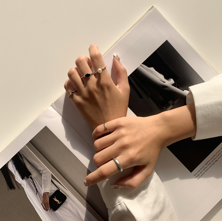 Black peace layered ring