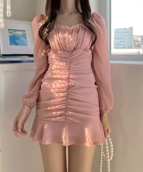 Gliss Shirring Chiffon Dress 2color
