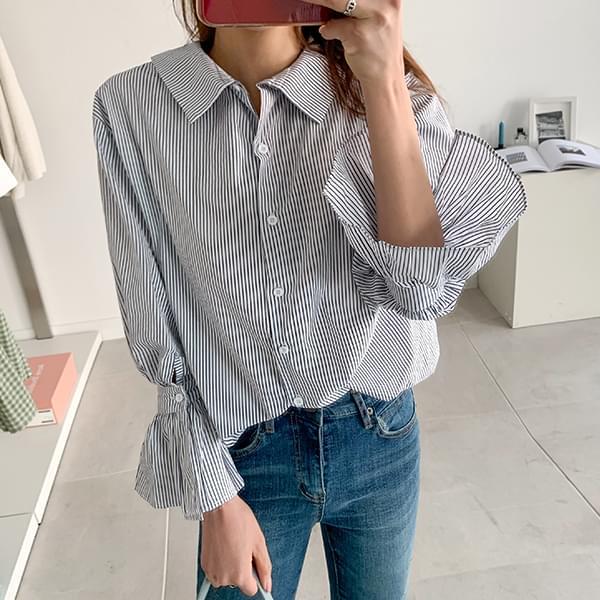 Striped Ruffle Reverse Shirt #44391
