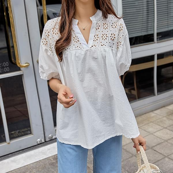 Romantic punching blouse #47725