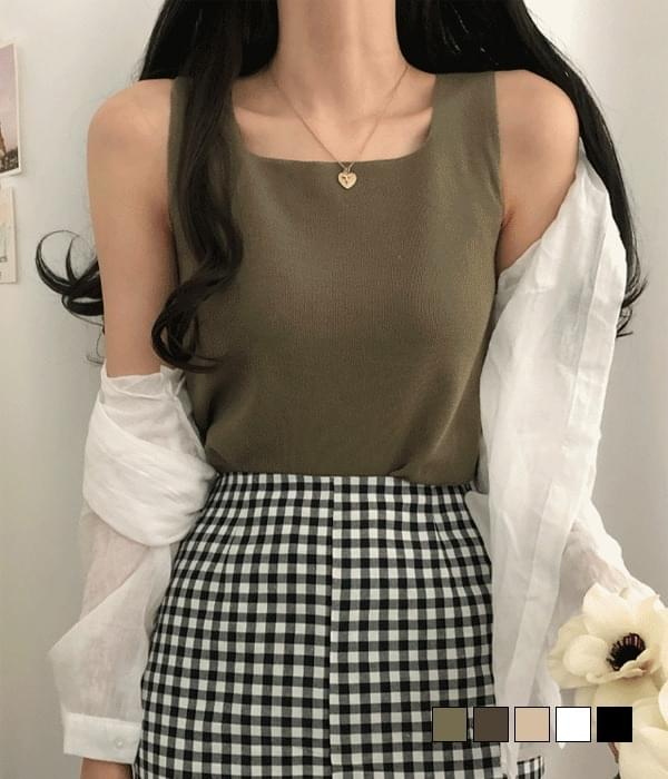 Work Square Neck Knitwear Sleeveless (Delayed delivery)