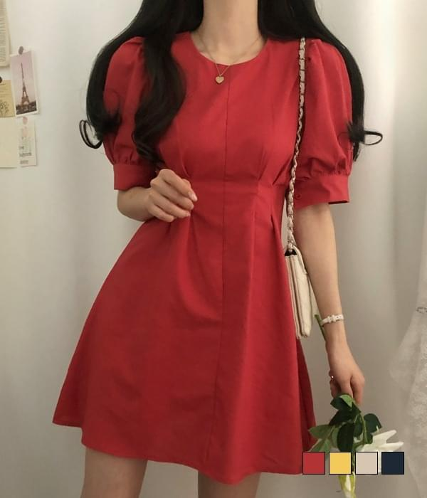 Plastic Puff Linen Pintuck Mini Dress 迷你短洋裝