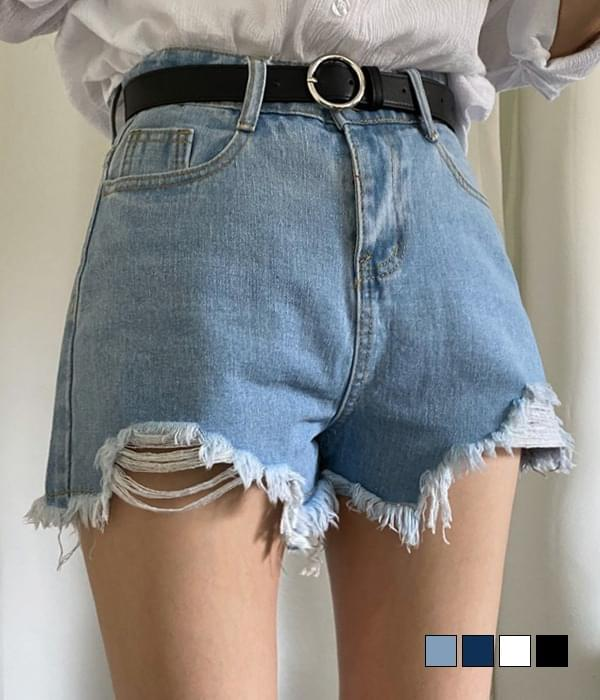 High waist damaged denim short pants