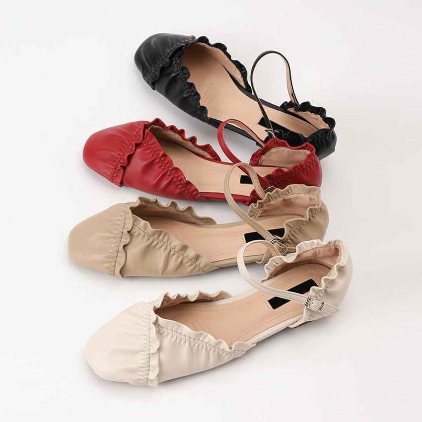 Rainey Shirring Mary Jane Flat Shoes