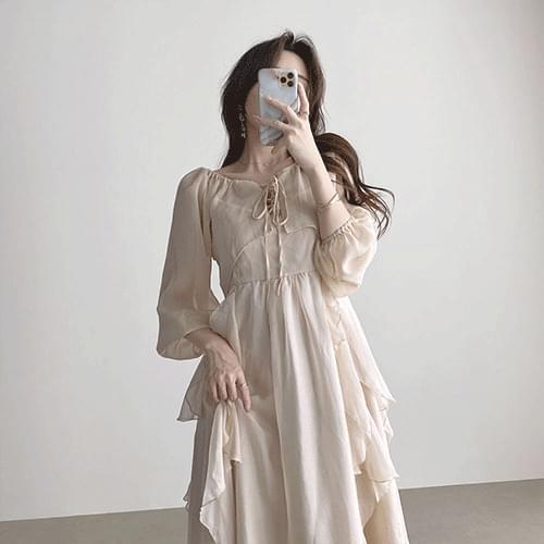 Kanada Goddess Chiffon Thong Sleeveless Long Dress Set