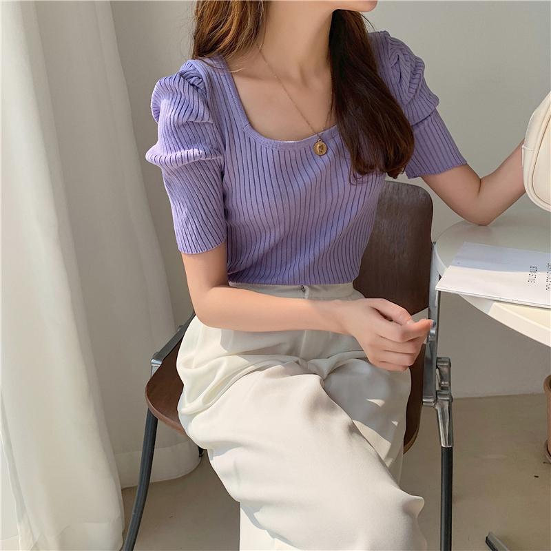 kn4200 Pulse Shoulder Puff Short Sleeve Knitwear