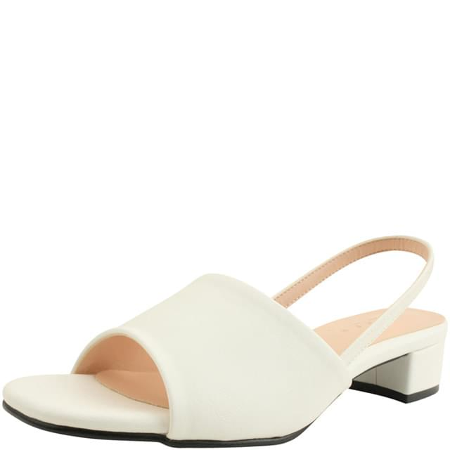 韓國空運 - Slingback Low Heel Toe Open Sandals 3cm White 涼鞋