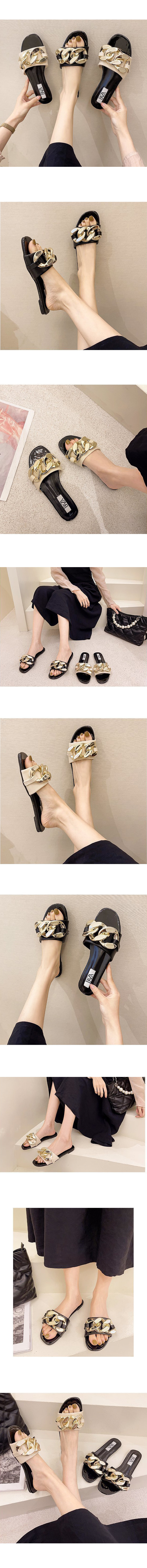 Bold Gold Chain Enamel Slippers Black