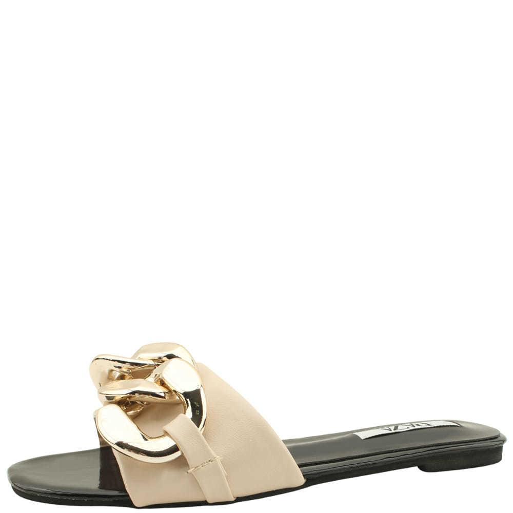 韓國空運 - Bold Gold Chain Enamel Slippers Beige 涼鞋