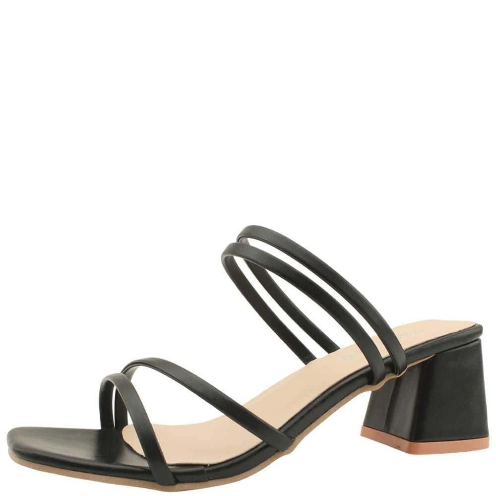 Slim Strap Middle Heel Mule Sandals Black