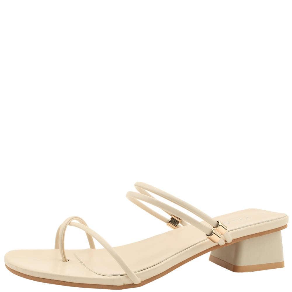Slim Pleated Strap Mule Middle Heel Sandals Beige